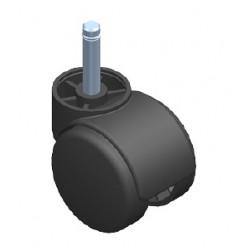 Kółko fotelowe Φ50 b/hamulca z tworzywa, z bolcem  FI 10 ze sprężyną  KOL79.5